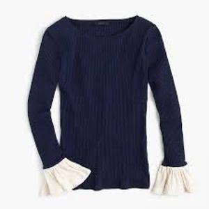 J. Crew NWT ribbed bell sleeve knit top blue  S